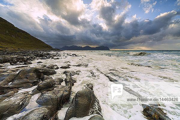 Rocks on beach in Vikten  Lofoten Islands  Norway