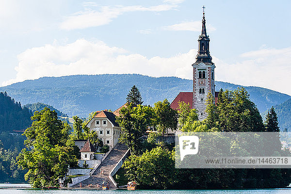 The Pilgrimage Church of the Assumption of Mary (Our Lady of the Lake)  located on an island in Lake Bled  Slovenia