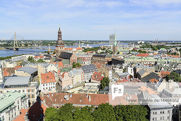 View of Old Town  UNESCO World Heritage Site  Riga  Latvia