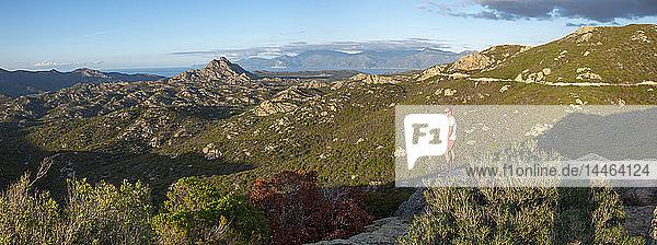 Wild mountainous coastline in north Corsica near Saint-Florent looking towards Cap Corse  Corsica  France  Mediterranean