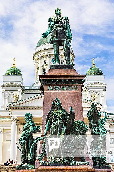 Statue of Emperor Alexander II in Senate Square  Helsinki  Finland