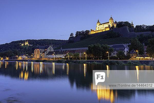 Marienberg Fortress at dusk  Wurzburg  Bavaria  Germany