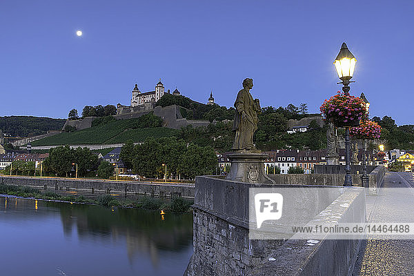 Marienberg Fortress and Old Main Bridge at dawn  Wurzburg  Bavaria  Germany