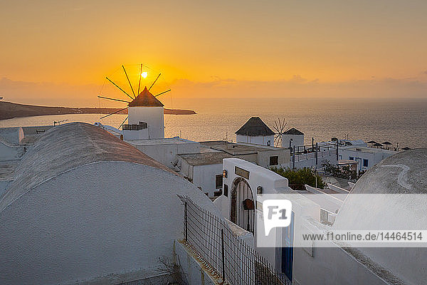 View of windmills at sunset in Oia village  Santorini  Cyclades  Aegean Islands  Greek Islands  Greece  Europe