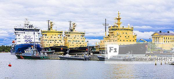 Moored ice breakers in Helsinki  Finland