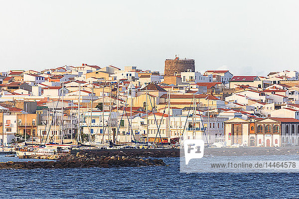 Village of Calasetta from the sea  Sant'Antioco Island  Sud Sardegna province  Sardinia  Italy  Mediterranean