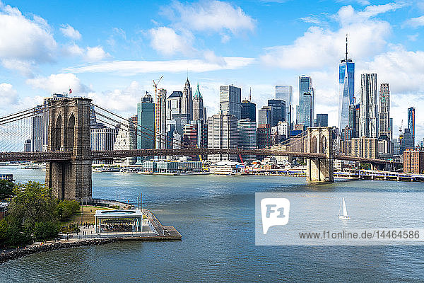 The view over the East River towards the Brooklyn Bridge and Lower Manhattan  New York  United States of America  North America
