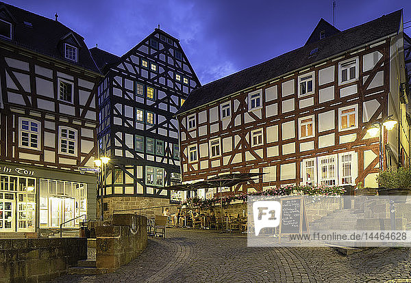 Half-timbered buildings at dusk  Marburg  Hesse  Germany
