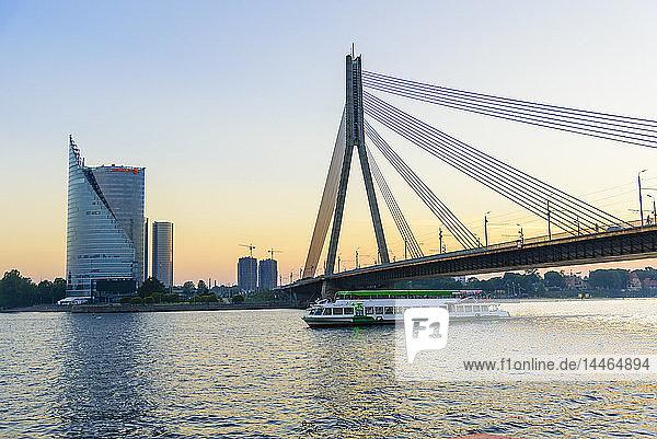 Vansu Bridge over Daugava River  Riga  Latvia