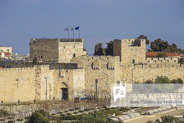 View of Jaffa Gate  Old City  UNESCO World Heritage Site  Jerusalem  Israel  Middle East