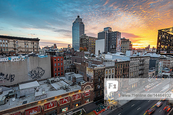 Sunrise over the Soho district of New York City  New York  United States of America  North America