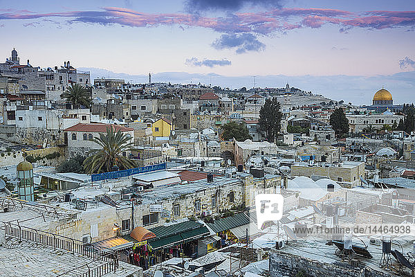 View over Muslim Quarter towards Dome of the Rock  Jerusalem  Israel  Middle East