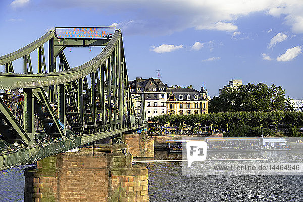 Iron Bridge and River Main  Frankfurt  Hesse  Germany