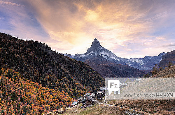 Village of Findeln by Matterhorn at sunset in Zermatt  Switzerland