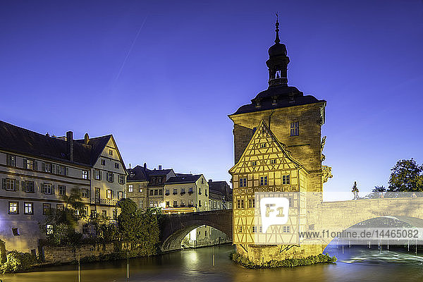 Altes Rathaus (Old Town Hall) at dusk  Bamberg  UNESCO World Heritage Site  Bavaria  Germany