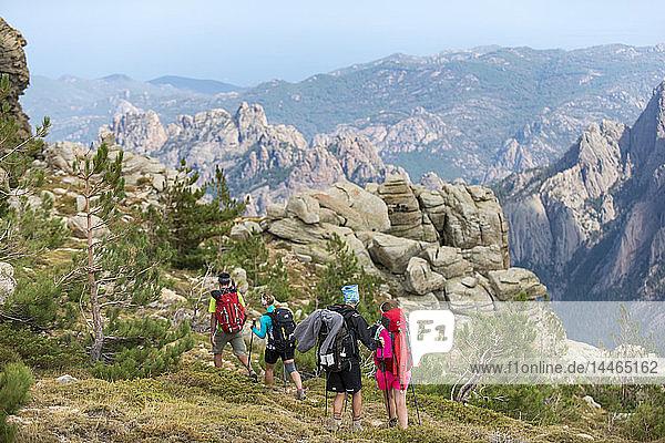 Trekking on the GR20 in Corsica near the Aiguilles de Bavella hiking towards Refuge d'Asinao  Corsica  France  Mediterranean