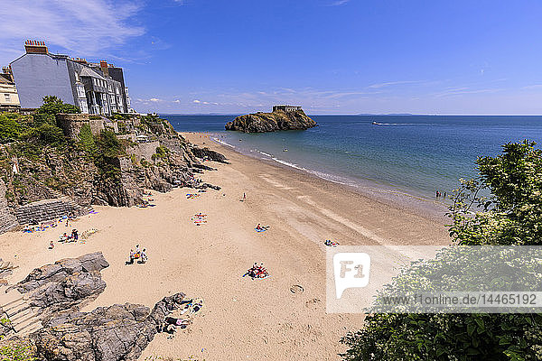 Castle Beach and St. Catherine's Island  on a sunny day in summer  Tenby  Pembrokeshire  Wales  United Kingdom  Europe