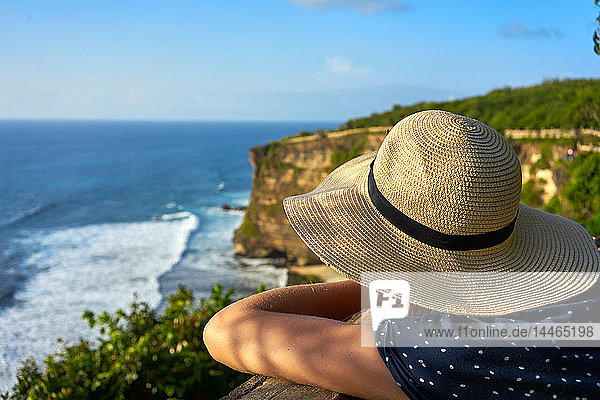 Looking out at limestone cliffs and the Indian Ocean viewed from Uluwatu Temple  Pecatu  Bali  Indonesia  Southeast Asia