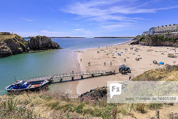 Boat to Caldey Island off Castle Beach  on a sunny day in summer  Tenby  Pembrokeshire  Wales  United Kingdom  Europe