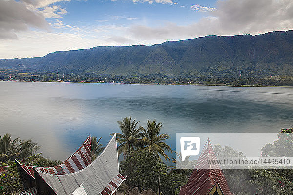 Typical Batak houses overlooking Lake Toba  Tuk Tuk  Lake Toba  Samosir Island  Sumatra  Indonesia  Southeast Asia  Asia