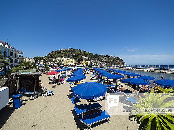 Italy  Campagnia  Ischia  Lacco Ameno  Beach with sun loungers and sunshades