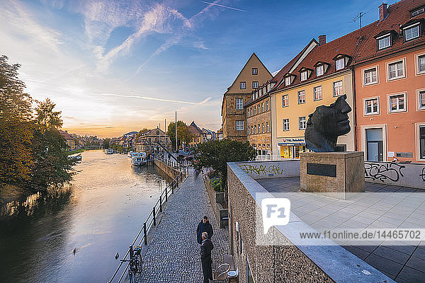 Germany  Bavaria  Bamberg  old town  Regnitz river at twilight