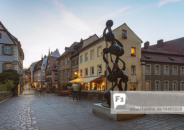 Germany  Bavaria  Bamberg  old town at dusk