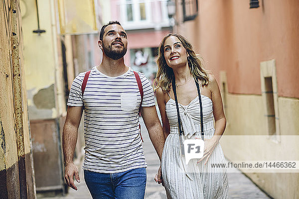 Spain  Andalusia  Malaga  tourist couple exploring the city