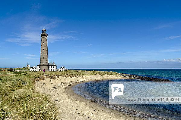 Dänemark  Jütland  Skagen  Grenen  grauer Leuchtturm