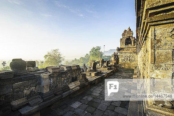 Indonesien  Java  Borobudur-Tempelkomplex im frühen Morgenlicht