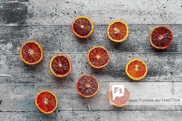 Halves of blood oranges