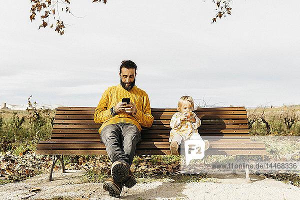 Vater und Tochter sitzen im Herbst auf einer Parkbank  der Vater benutzt ein Smartphone  die Tochter isst einen Apfel