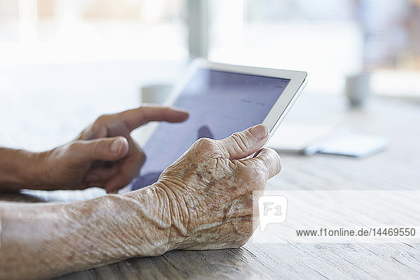 Woman's hand holding digital tablet  close-up