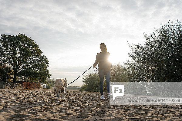 Deutschland  Hamburg  Frau beim Strandspaziergang mit Hund am Elbufer