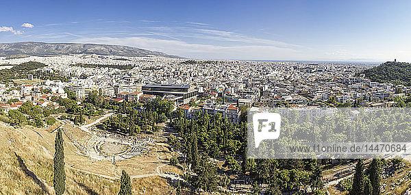 Griechenland  Athen  Panorama  Blick vom Akropolishügel