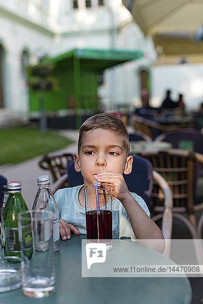 Kleiner Junge trinkt Erfrischungsgetränk mit einem Strohhalm