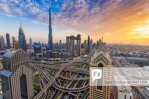 United Arab Emirates  Dubai  Burj Khalifa at sunset