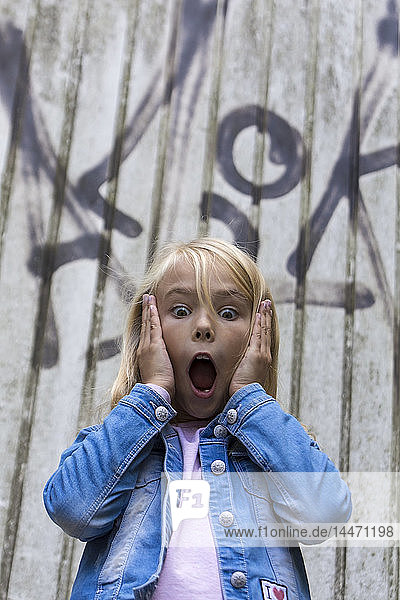 Portrait of scared blond girl