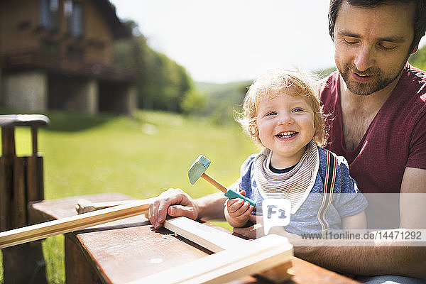 Father and little son working with hammer in garden