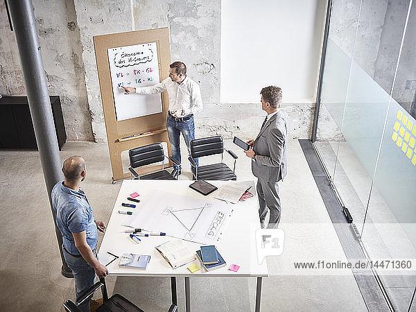 Drei Geschäftsleute bei einer Besprechung mit Flipchart im Konferenzraum
