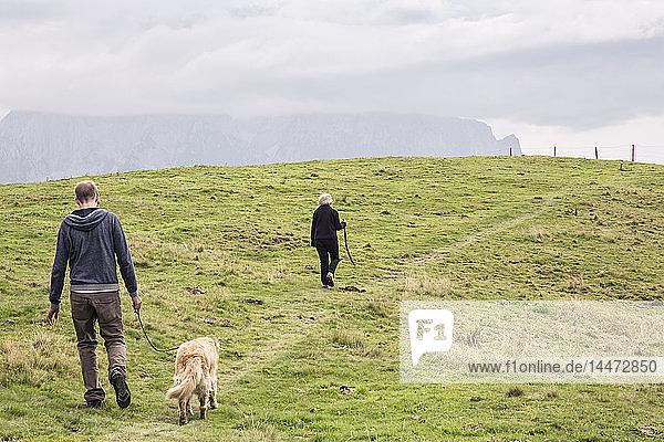Österreich  Tirol  Kaisergebirge  Mutter und erwachsener Sohn mit Hund auf einer Wanderung in den Bergen