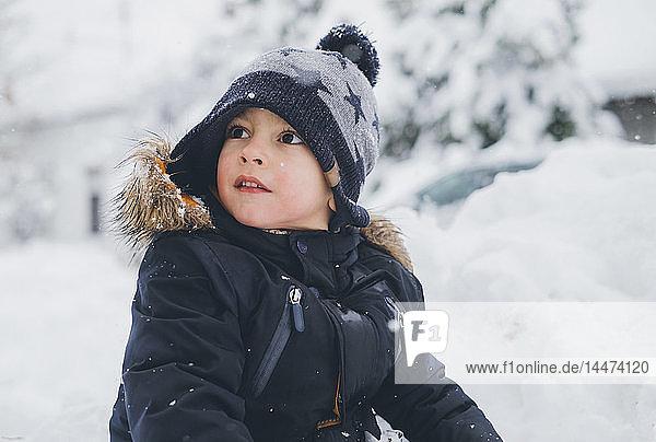 Portrait of toddler in winter