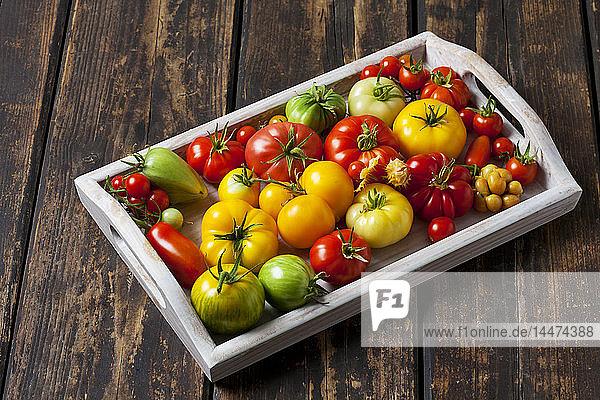 Holzschale mit verschiedenen Tomatensorten