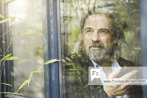 Leitender Geschäftsmann steht am Fenster und benutzt ein Smartphone