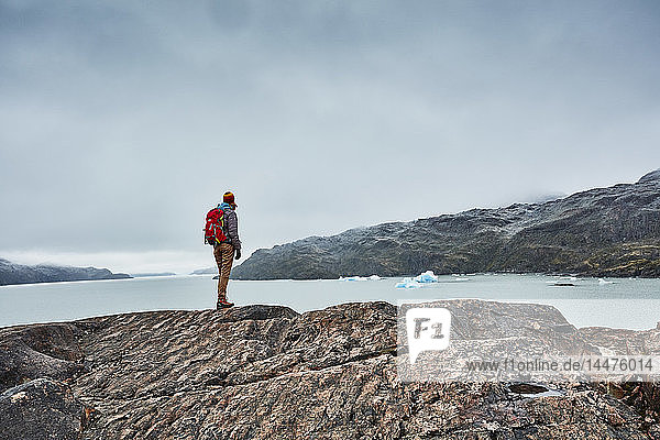 Chile  Torres del Paine National park  Lago Grey  woman standing on rock at the shore looking at iceberg