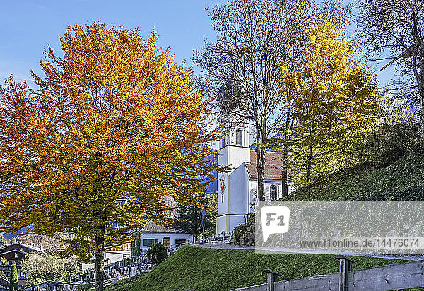 Germany  Bavaria  Garmisch-Partenkirchen  Grainau  Parish church St John the Baptist