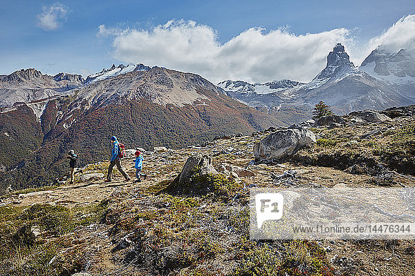 Chile  Cerro Castillo  mother with two sons on a hiking trip in the mountains