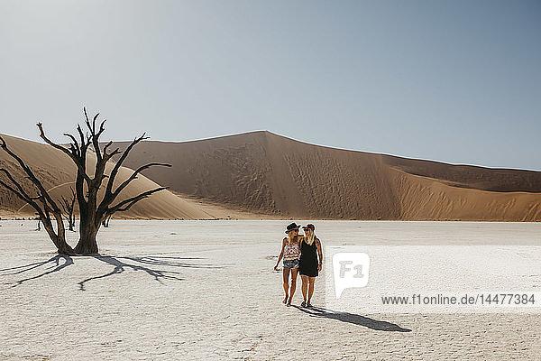 Namibia  Namib desert  Namib-Naukluft National Park  Sossusvlei  two girlfriends walking in Deadvlei