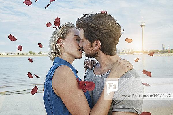 Deutschland  Düsseldorf  Zärtliches junges Paar küsst sich am Rheinufer  umgeben von fallenden Rosenblättern