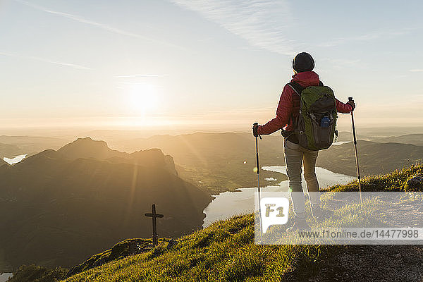 Austrian  Salzkammergut  Woman hiking alone in tha mountains